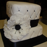 "Black And White Square Cake With Black And White Anemone I had been looking for a reason to try to make an Anemone when someone asked for a wedding shower cake for a ""Black and White 50'..."