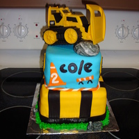 Construction Cake Construction themed birthday cake. Cricut cake was used for name and number. Rocks are a mix of black and white fondant. Grass is piped...