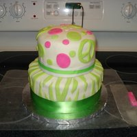"Pink And Green Birthday  This was my first fondant cake! Birthday girl requested green and pink and zebra stripes, and peace signs. I added ""11"" in..."