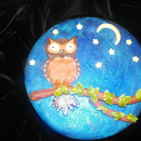 Night Owl I made this for my grandma, she loves owls. It is a lemon pound cake filled with white chocolate raspberry ganache and raspberry filling....