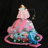 Sad Alice In Wonderland... Funny cake. We tried to do this quickly and on no sleep. Thank GOD it was for a home party!! LOL Soooo many errors, can you see them?