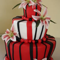 Red/white And Black Whimsical Red/White and Black Themed Wedding Cake...