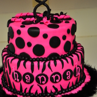 "Hot Pink And Black Zebra Birthday Cake 10"" double layer and 8"" double layer vanilla cakes covered with buttercream and MMF. The cake settled some on the right side..and..."