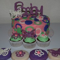 Baby Shower Cake And Cupcakes Candy Melts were used for all accents.