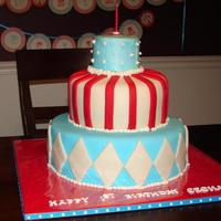 Carnival Red And Turquoise This is a first birthday cake I made for my daughter. We had a carnival party with red and turquoise being the theme colors. Wanted to make...
