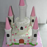 "Castle Cake This is my first castle cake. I made it for a little girl's 4th birthday. 10"" square and 6"" circle. Turrets are paper towel..."