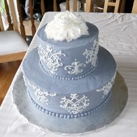 Damask Buttercream  Needed a cake for my final Wilton 3 class, but had no time for the elaborate fondant project I had planned. Good ol' buttercream! I...