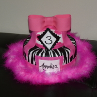Zebra And Hot Pink Birthday Cake  Hot pink and zebra stripes to match the theme for a little girl's 3rd birthday party! (The birthday girl wore a zebra print tutu and...