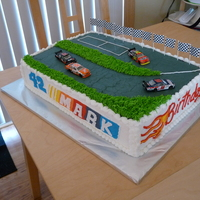 Racetrack Birthday Cake  I was asked to do this cake for my cousin's birthday... They had bought the little cars and some other accessories(not pictured) for...