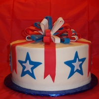 4Th Of July Cake White cake with raspberry mousse. Accents are fondant.