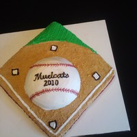 End Of Season Cake Vanilla cake w/bc. 16in cake with ball pan. GO Mudcats