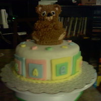 Baby Shower Cake Baby shower cake for a coworker. Mini bear on top.