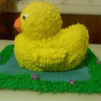 3D Duck Cake For Daughters 1St Birthday 3D duck cake on color flow icing pond with flowers and grass