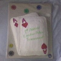"Pocket Aces I made this cake for my poker loving husband by request for a poker ""tournament"" with his buddies. Butter cream with colored..."