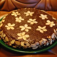 Mother's Birthday Cake I made a dense almond/chocolate cake with chocolate frosting for my mother's birthday and decorated it with almonds and leftover...