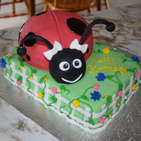 Ella's 1St Birthday. Lady Bug Theme.  This is my second stacked cake. First 'animal'. All cake except for the head which is Rice Krispies and the antennas which are...
