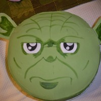 "Star Wars Cakes These are two 9"" round carrot cakes that I made. The yoda is for my husband's birthday and the boba fett is for my brother's..."