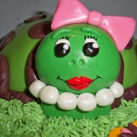 Tina The Turtle Turtle shaped cake. The cake is WASC cake and the icing is just store bought canned icing. I used a soccer ball pan for the shell....