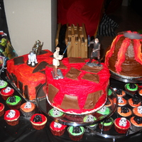 Austins Mustafar Birthday Cake  Volcano cake is yellow cake/chocolate filling the volcano is made from rice treats, round lava cake is white cake/chocolate filling and...