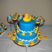 Rubber Duckie This is the very first time I have ever made a tiered cake or used fondant. This was for my step daughters baby shower. The bottom cake was...