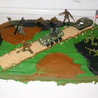 Austin's Camo Cake My Grandson is into GI Joe and wanted a Camo Cake. This is the first time I have ever attempted anything like this. White Cake w/BC