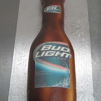 Bud Light Fondant icing...air brushed, with an edible image label.