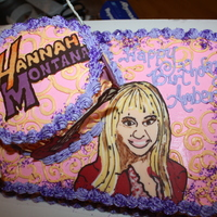 Hannah Montana Hannah Montana cake for a 6 y.o. birthday, the cake is Golden Butter covered in Italian Meringue Buttercream. The guitars, logo, and Hannah...