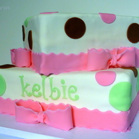 Pink, Green, & Brown Polkda Dot Baby Shower Cake With Bows White cake with buttercream icing. Fondant with fondant accents. http://gabbyrm.blogspot.com/