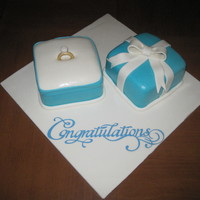 Engagement Cake Tiffany ring box with a sugar coated diamond ring.