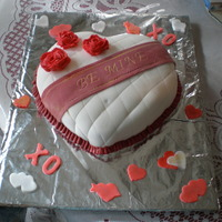 Be Mine Yellow cake with almond filling with buttercream icing with fondant. Time to make: 1 hour. Enjoy! Happy VD