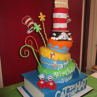 Cat In The Hat Cake All edible except the #2 candle, and the giant Book (foam) , also hand painted the fish, fish bowl and kites.