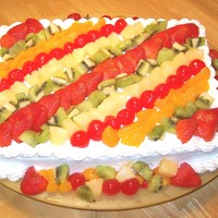 Fruity Cake this is a 9x13 cake, covered in fluffy buttercream icing, then fresh fruit is spread across the top and sides, shell boarders complete the...