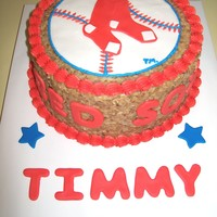 Boston Red Sox Cake this is a 10 inch german chocolate cake with the Boston Red Sox Logo.