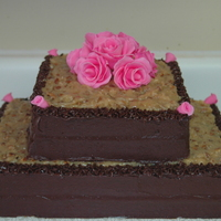 German Choc. Cake German chocolate cake with pink gumpaste roses