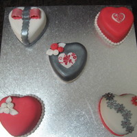 Valentine Day Cakes   Cakes made for my OH for Valentines Day. Red velvet with white chocolate ganache and fondant. Thanks for looking