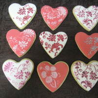 Valentines Day Cookies NFSC with fondant made for my OH for Valentines day. It was a great excuse to practice stencilling