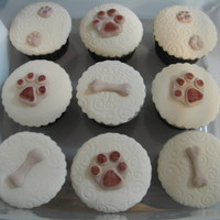 Rspca Cupcakes  These were made for the local RSPCA cupcake day. they are white chocolate banana cake covered in ganache and fondant. Sorry for the bad pic...