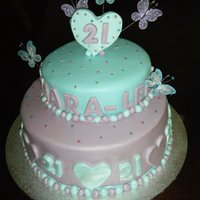 21St Cake white mud with Italian merangue buttercream then fondant... made by Jen