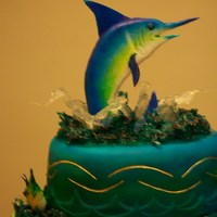 Marlin Fish And Boat Cake