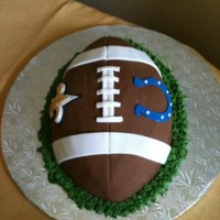 Super Bowl Used a Wilton football pan mold & covered the cake in fondant