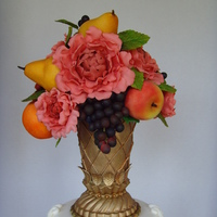 Flower Vase With Fruits And Peonies all in gumpaste
