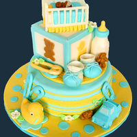 Babyshower Cake All decorations in fondant