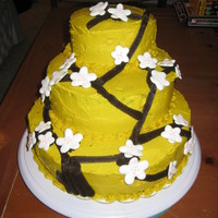 "First Cherry Blossom Cake A first foray into making tiered cakes, and cherry blossom cakes, this is a chocolate cake made of 10"", 8"", and 5"" layers. I..."