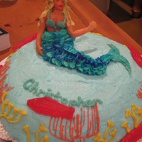 Mermaid Cake This was made for the second project (figure piping) for the Wilton I class. The tail of the mermaid was piped on. The torso, head, and...