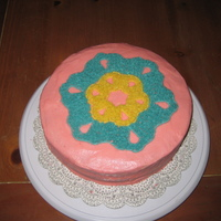 Snowflake/cut-Out Cake This was my first cake for the Wilton 1 class, when the big decorating techniques were the filling in of areas with stars. I made the...