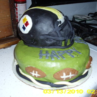 Father In Law Steeler Cake 2nd decorated cake ever. The helmet cage was the worst.