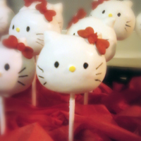 Hello Kitty Cakepops These were Super fun to make but more fun to eat. Credit to Bakerella for the idea. These were for a friends birthday. They are WASC...