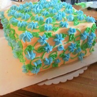 Yellow Square Cake Chocolate layer cake, with buttercream filling. Yellow buttercream icing with blue drop flowers and sweet peas. This was a just cause cake...