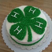 4H Cake Chocolate cake layered with buttercream and piped 4H clover. This cake was to celebrate my kids' end of 4H show year.
