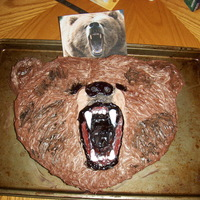 Grizzly Bear Cake Grizzly Bear cake I made for camping. Chocolate sponge cake and buttercream.